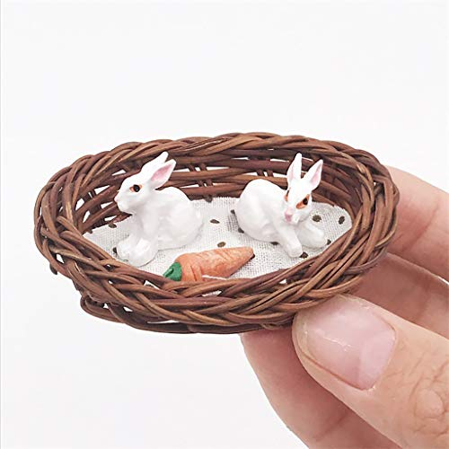 NszzJixo9 Mini Rattan Bunnies Rabbit Hatch for 1:12 Miniature Dollhouse Room Decor - Dollhouse Furniture Mini Miniature