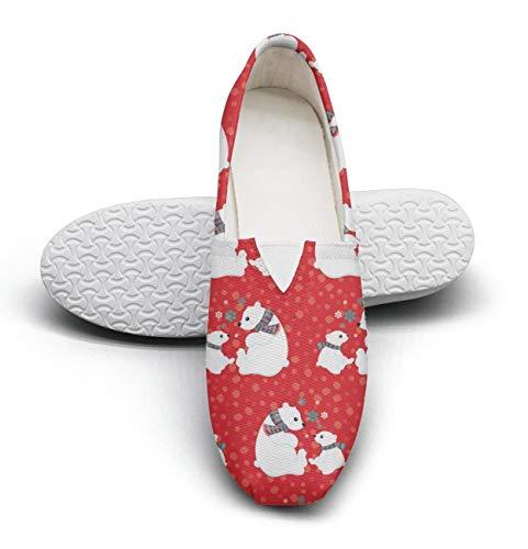 (HappyWomen Christmas red Cute Polar Bears Fairytale Princess Women's Extra Light Flat Walking Sneakers Ladies Loafer Shoes)