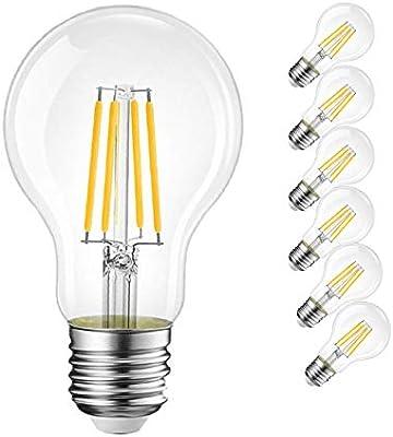 Pack de 6 bombillas LED clásicas de 4 W, A60, E27, casquillo mediano, equivalente a 40 W, blanco cálido, 2700 K, filamento Edison, no regulable, estilo de filamento, transparente: Amazon.es: Iluminación