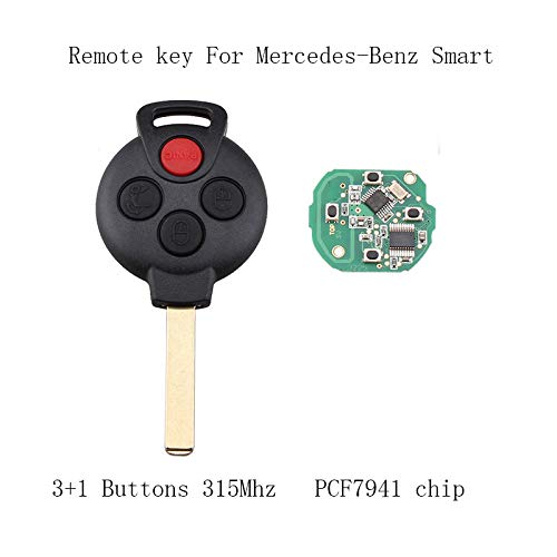 QWMEND 3+1 Buttons 315MHz PCF7941 chip Remote Key Fob For Mercedes-benz Smart FORTWO 2008-2015 Keyless For Benz KR55WK45144 key
