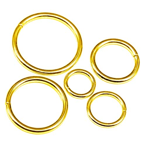 - Swpeet 50 Pcs Gold Assorted Multi-Purpose Metal O Ring for Hardware Bags Ring Hand DIY Accessories - 15mm, 19mm, 25mm, 32mm, 38mm