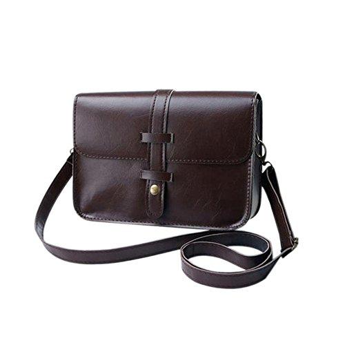 dragonaur Women Faux Leather Button Satchel Handbag Crossbody Shoulder Messenger Bag size Medium (Black) Dark Brown