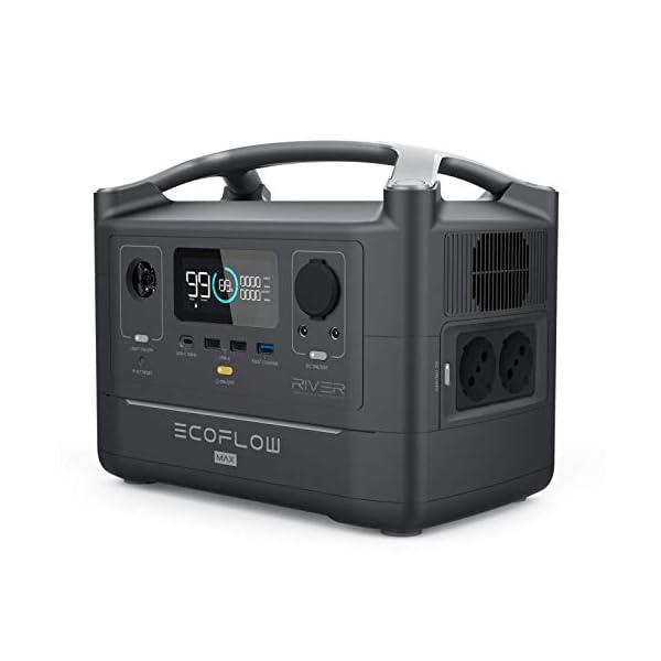 412vdygNFDL EF ECOFLOW Tragbare Power Station RIVER Max, 576 Wh Backup Lithium Batterie mit 3x 600 W (Peak 1200 W) AC Steckdosen…