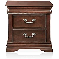HOMES: Inside + Out ioHOMES Charline English Style 2-Drawer Nightstand, Cherry