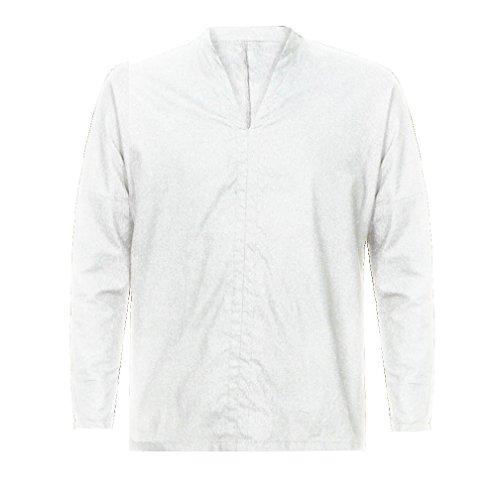 V 0801 Coton Longues Tifiy cou À Homme Tops Hommes Manches Blanc Blouse 1w4vvqXS