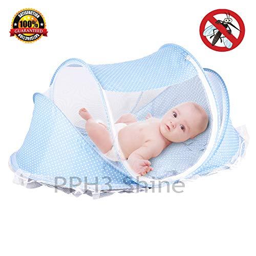 4Pcs/lot Baby Crib Bed with Mattress Pillow Set Portable Folding Crib Netting Newborn Bedding Travel Sleep Mosquito Net Bed ()