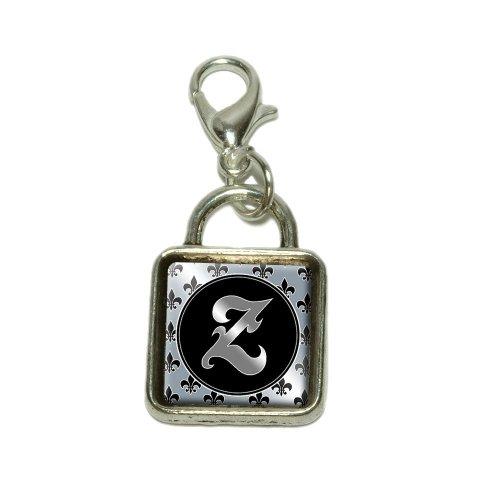 Letter Z on Fleur De Lis Pattern Dangling Bracelet Pendant Square (Fleur De Lis Pattern Bracelet)
