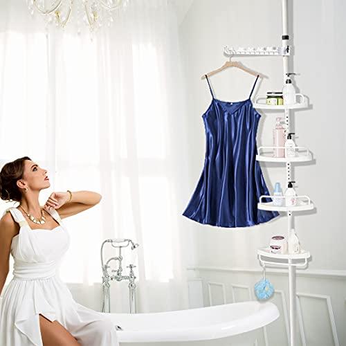 Shower Caddy Pole, 4 Tier Bathroom Shelf Shower Caddy Tension Pole Organizer Shampoo Storage for Bathtub in Stainless Steel, Rustproof, Strong and Sturdy (Ivory)