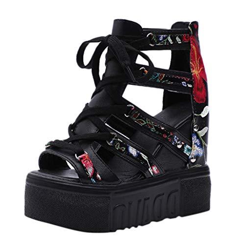 Summer Women Wedge Sandals High Heel Flower Cross Straps Fashion Roman Sandals Black