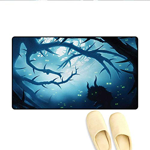 Bath Mat,Animal with Burning Eyes in The Dark Forest at Night Horror Halloween Illustration,Door Mat Small Rug,Navy White,Size:16