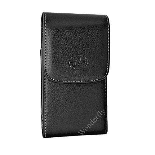 Wonderfly Holster for Motorola Moto G5 Plus or Moto G5S, a Large Vertical Leather Carrying Case with Rotatable Belt Clip, Fits the Phone with OtterBox Communter, Spigen or Other Thick Case from Wonderfly
