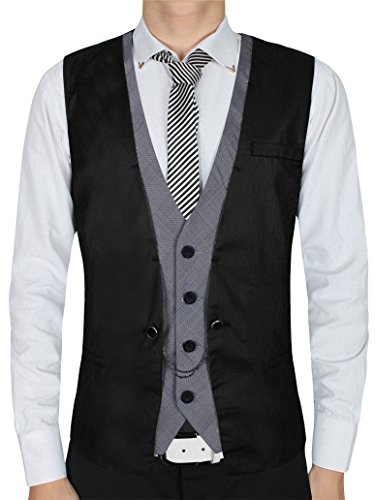 Casual Chain - Vest,QinYing Men's Waistcoat Cotton Knit Sleeveless Casual Jackets Black Medium