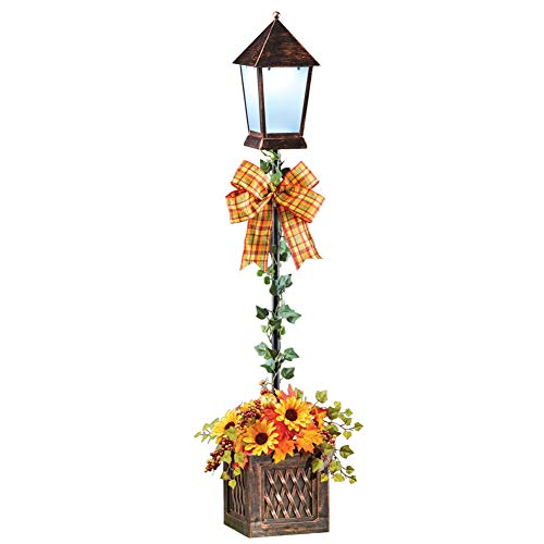 Collections Etc Festive Autumn Solar Lamppost in Rustic Basket Filled with Sunflowers, Pumpkins, Leaves and Ivy
