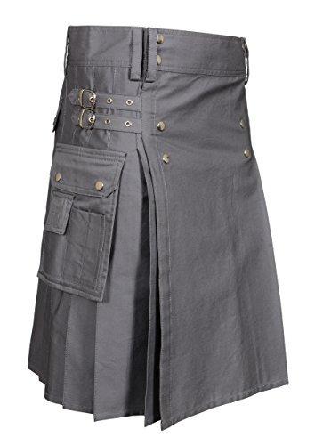 Men's Gray Utility Kilt (Belly Button Size 40) by Scottish Designer (Image #2)