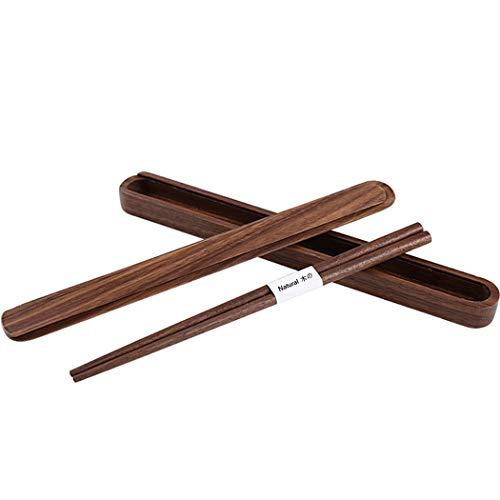Chopsticks with Case Reusable Dishwasher Safe Natural Wood Set for Home Travel Outdoor 9 Inch (Chopsticks)