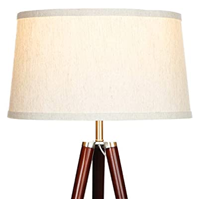 Brightech Emma LED Tripod Floor Lamp - Mid Century Modern Standing Light for Contemporary Living Rooms - Tall Survey Lamp with Wood Legs for Bedroom, Office