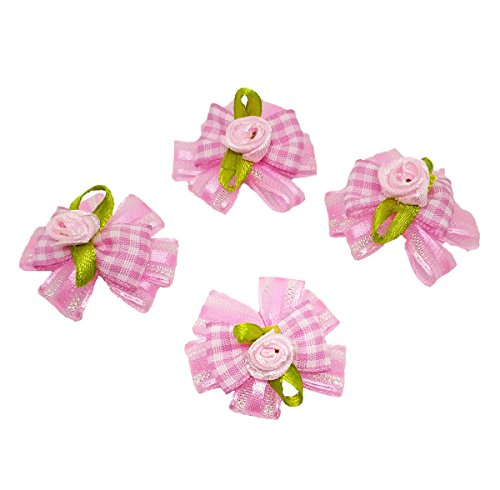 PET SHOW 3D Flower Hair Bows Ribbon Headdress for Small Dogs Grooming Accessories with Rubber Bands Color Pink Pack of 20
