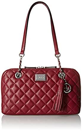 Calvin Klein Quilted Pebble Leather Satchel Bag Red