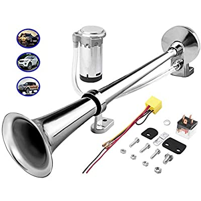 Carfka Train Horn Kit for Truck Car with Air Compressor, Super Loud 12V Electric Trains Horns for Vehicles, Single Trumpet Air Horn Complete Kits for Easy to Install, Jeep SUV Lorrys Boats (Silver): Automotive