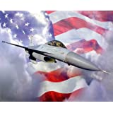 Military F-16A Falcon Fighting Jet Flag Aviation Wall Decor Art Print Poster (16x20)