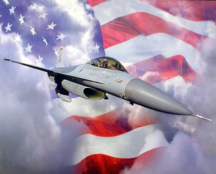 Military F-16A Falcon Fighting Jet Flag Art Print Poster (16x20) ()