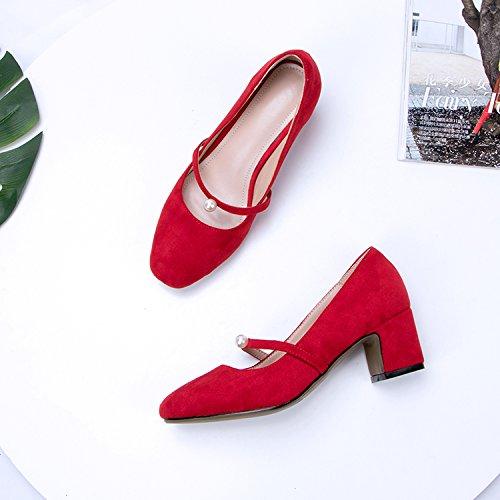 GAOLIM Los Zapatos De Tacón Alto Zapatos De Mujer Muelle Grueso Solo Zapatos Con La Luz Del Four Seasons De Zapatos De Mujer Salvaje El rojo