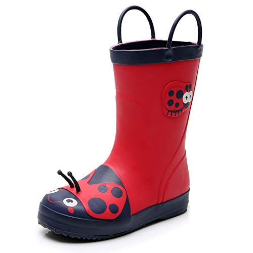 Triple Deer 3D Boy Rubber Rain Boots, Cute Animal Lightweight Waterproof Raining Shoes for Toddlers & Little Kids Age 1-6, with Easy-on Handles (Dinosaur/Lady Bugs/Deer/Leopard) (Toddler 10M, Lady Bug)]()
