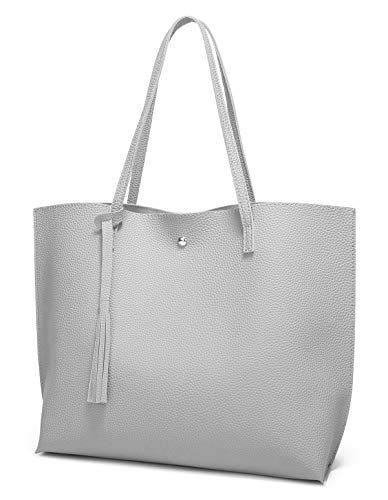 Women's Soft Leather Tote Shoulder Bag from Dreubea, Big Capacity Tassel Handbag Grey ()