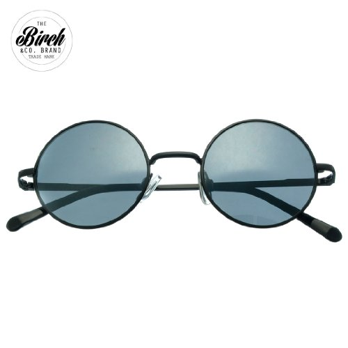 BIRCH's Retro Vintage Style Round Circle Metal Mirror Lens Flex Hinges Sunglasses (Black)