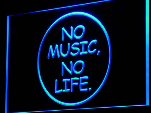 No Music No Life Bar Beer Roll Rock LED Sign Night Light - Rolls Sign Led