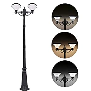 120W Solar Lamp Post Light Outdoor, 86″ Solar Powered Street Lights with 2-Head,Outdoor Solar Light for Front/Back Door, Street, Garden(with Pole)