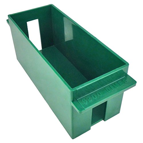 Extra-Capacity Rolled Coin Plastic Storage Tray, Dimes, Green (1 Tray)