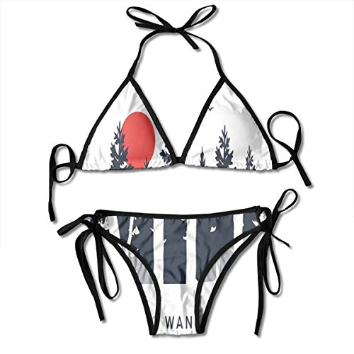Custom Adjustable Women's Bikini Set,Wild Letters in The Forest with Moon Birds,Two Pieces Swimsuit