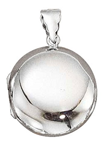 Sterling Silver Girls 16'' .8mm Box Chain Puffy Round Two Picture Locket Pendant Necklace by Auntie's Treasures