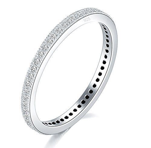 4 Finger Rings (2MM 925 Sterling Silver Ring, Boruo Cubic Zirconia CZ Wedding Band Stackable Ring Size 4)
