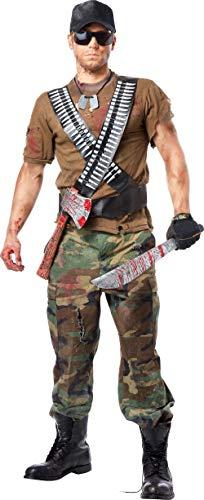 Halloween Costumes Zombie Hunter (California Costumes Men's Zombie Hunter Kit, Black/Silver/Red, One)