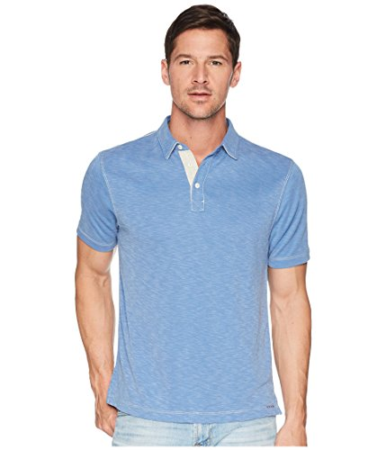 True Grit Men's Lux Textured Tencel Short Sleeve Knit Polo with Contrast Stitch Denim ()