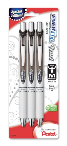 Pentel EnerGel Pearl Deluxe RTX Retractable Liquid Gel Pen, 0.7mm, Black Accent, Black Ink, 3 Pack (BL77WBP3A) from Pentel