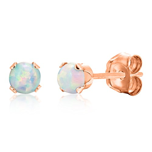 Gold Silver Stud Over (Round 3mm Fire & Snow White Simulated Opal Stud Earrings - Rose Gold Over Sterling Silver .925)