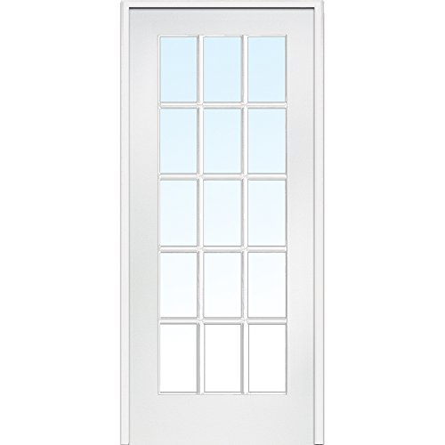 National Door Company ZA09305L Primed MDF 15 Lite Clear Glass, Left Hand Prehung Interior Door, 30