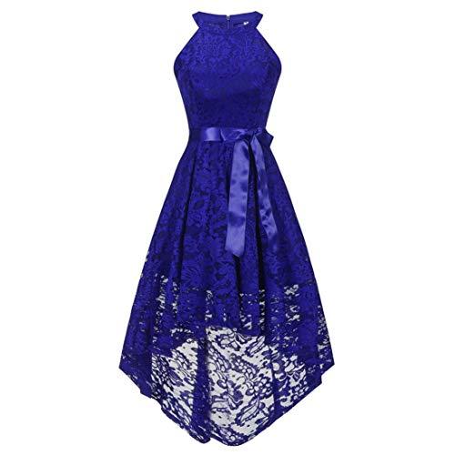YUAFOAE Vestidos De Fiesta Mujer Cortos Elegantes,Sin Mangas O-Cuello Dobladillo Hem Irregular Verano Suelto Cómodo De Encaje Faldas con Vuelo Azul