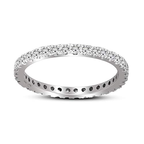 100% Real Diamond Ring Luxury Eternity Diamond Ring 5/8ct IGI Certified Lab Grown Diamond Engagement Rings For Women Lab Created Diamond SI-GH Quality 10K Real Diamond Band Ring (Jewelry Gifts)