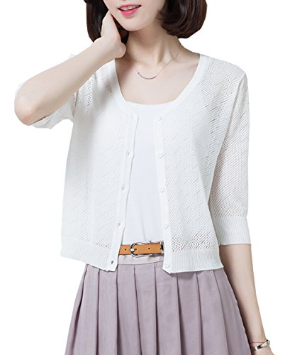 Crochet Knit Sweater - NianEr Summer V Neck Short Cardigans for Women Button up Knit 3 4 Sleeve Cropped Cardigan Sweaters