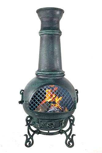 The Blue Rooster CAST Aluminum Gatsby Chiminea with Gas and a 10' Hose in Antique Green. Also Comes with a Free Year Round - Aluminum Gatsby Cast Chiminea