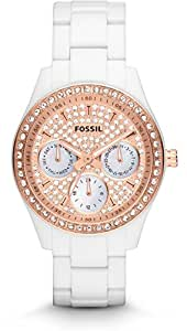 Fossil White Band Rose Gold Dial Watch