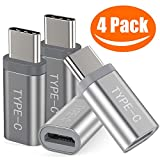 Snowkids Usb C Adapter, (4-Pack)Aluminum USB C to Micro USB Convert Connector Fast Charging Compatible With Samsung Galaxy Note 9 S9 S8 Note 8,Pixel,LG V30 V20 G5 G6, Nintendo Switch (Grey/Sliver)