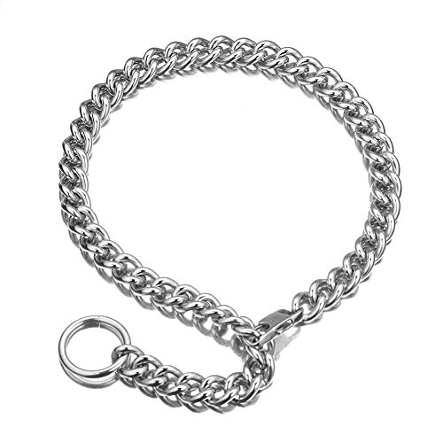 Granny Chic Fashion Silver Tone 316L Stainless Steel Choker Necklace Women Men Long Curb Chain Rapper Necklace (22 inches)
