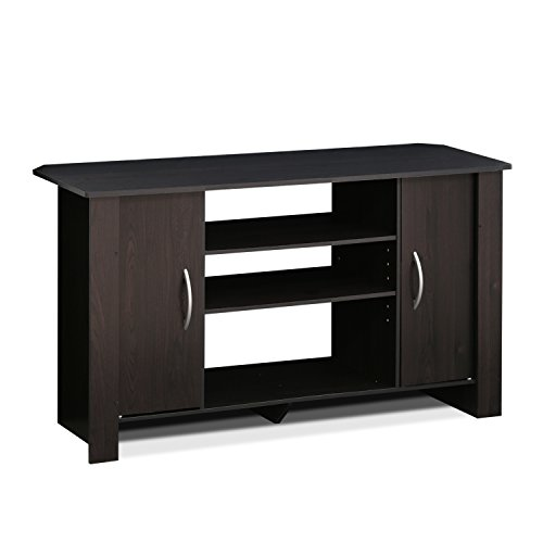 Furinno Econ TV Stand Entertainment Center, Espresso (Tv Screen Stands Wooden Flat)