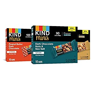 KIND Bar Minis, Variety Pack, Dark Chocolate Nuts, Caramel Almond Sea Salt, Peanut Butter Dark Chocolate, Gluten Free, Low Sugar, 0.7 oz, 30 Count