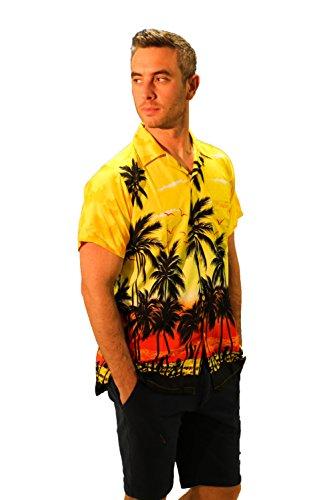REDSTAR Mens Hawaiian Shirt Short Sleeve Beach Holiday Palm Tree Hawaii for Men (XXL, ()
